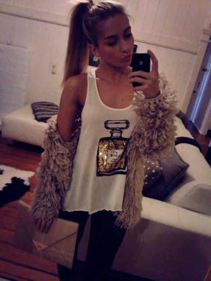 shirt chanel t-shirt chanel white singlet white channel perfume bottle gold sequins sequin bag