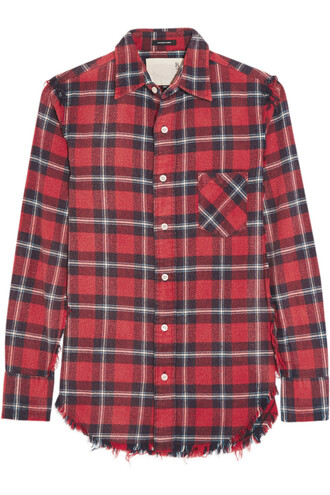 shirt flannel shirt plaid cotton flannel red top