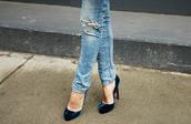 shoes,velvet shoes,velvet,blue shoes,pumps,high heel pumps,high heels,jeans,denim,light blue jeans,ripped jeans