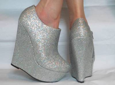 WOMENS SILVER GOLD PLATFORM GLITTER SPARKLY HIGH WEDGES SHOES HEELS ANKLE BOOTS