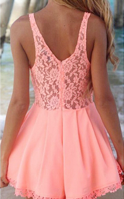 Pink lace splicing sexy hollow skirt jumpsuit