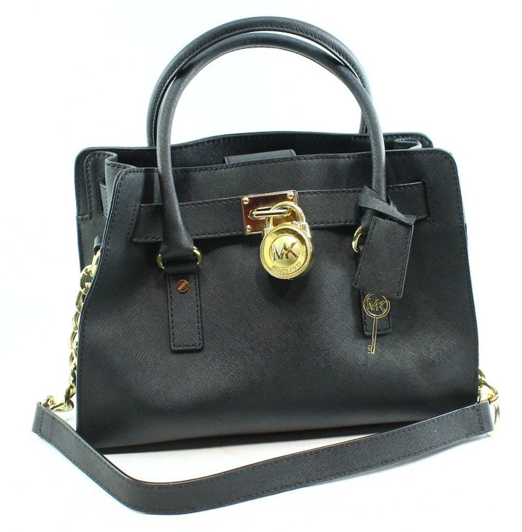 2bc1bc49c Michael Kors Black Saffiano Gold Chain Hamilton Satchel Bag Purse $298-#054