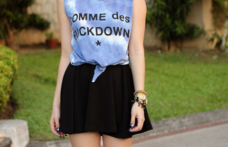 t-shirt blue light blue cool skirt black top summer me this