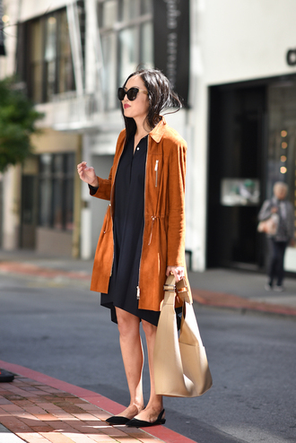 coat tumblr rust black dress dress midi dress work outfits office outfits sunglasses bag nude bag shoes black shoes flats pointed flats black flats spring outfits spring work outfit