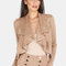 Cropped suede lapel jacket cocoa -shein(sheinside)