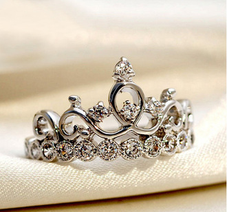 jewels silver ring crown ring ring jewelry queen princess silver diamonds gorgeous crown