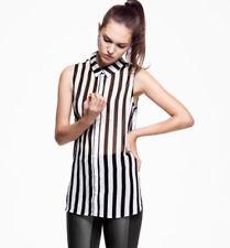 Summer Sleeveless Chiffon Georgette Blouse Black White Stripe Women T Shirt Tops   eBay