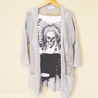 head dress tank top native american skull skull t-shirt style white cardigan