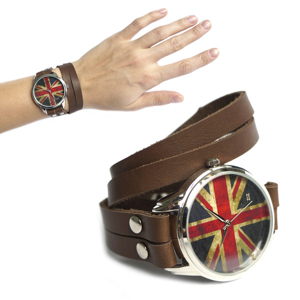 jewels union jack watch watch brown ziziztime ziz watch