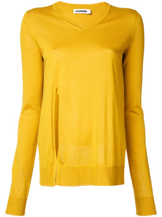 jumper women slit cotton silk yellow orange sweater
