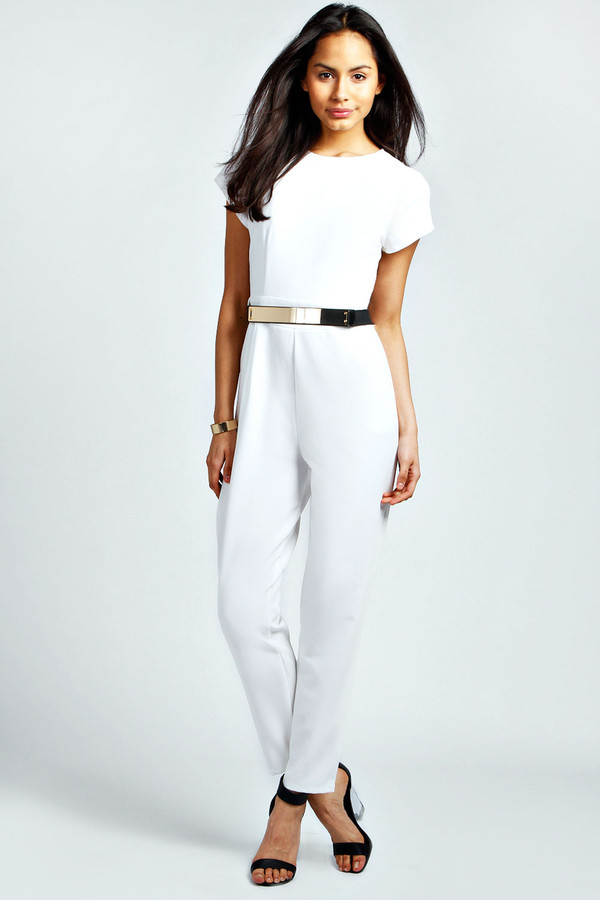 Pants: white, belted, gold, jumpsuit - Wheretoget