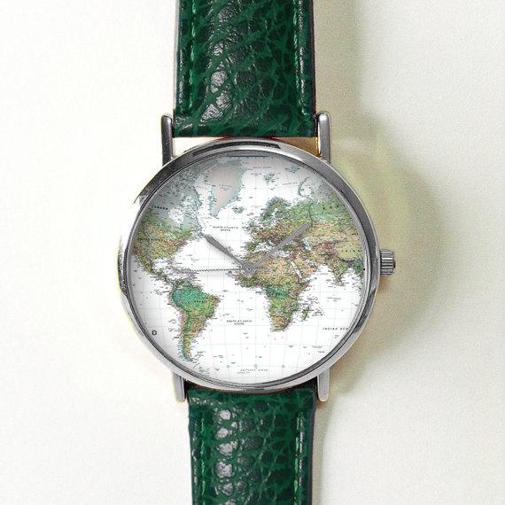 green earth world map watchvintage style leather watch women watchesunisex watchboyfriend watchmens