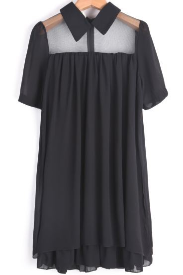 Black Contrast Sheer Lapel Loose Chiffon Dress