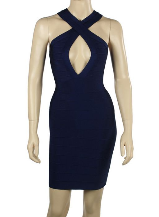 Navy Herve Leger Keyhole Crisscross Bandage Dress Sale [Navy Herve Leger Keyhole Dress] - $174.89 : cheap herve leger, 2013 bandage dress