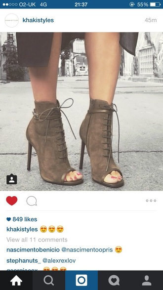 shoes high heels kakhi indian boots ankle strap heels