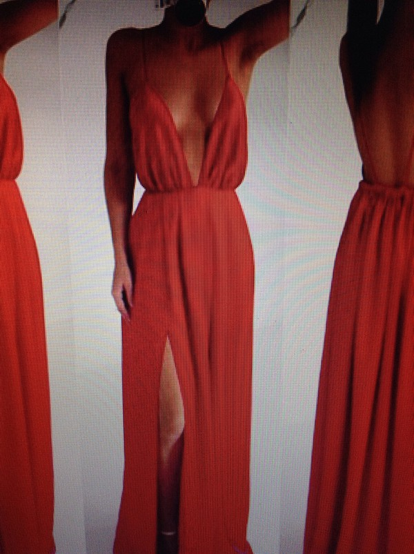 dress red dress slit dress slit cleavage dress