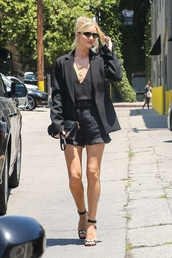 shorts,blazer,black blazer,rosie huntington-whiteley,top,sandals,sandal heels,model off-duty,all black everything,celebrity