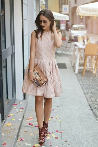 dress tumblr mini dress sleeveless sleeveless dress pink dress sandals sandal heels high heel sandals red sandals caged sandals bag printed bag embellished embellished bag