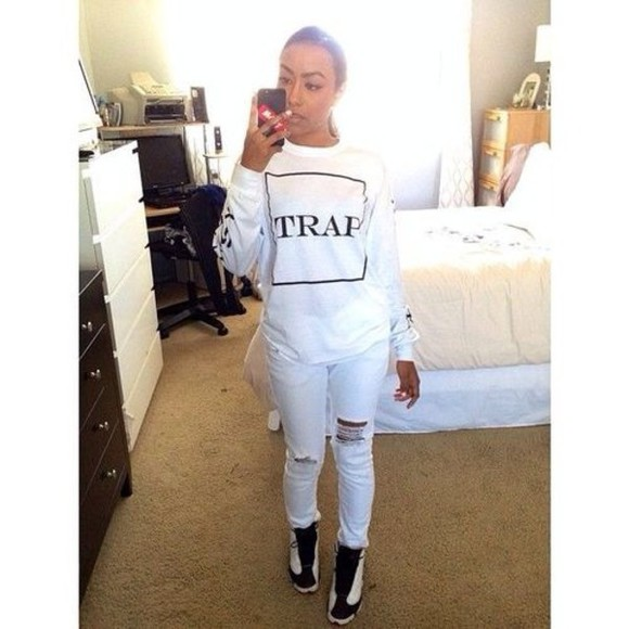 trap sneakers trap star dope trill t-shirt he got game ripped jeans black and white