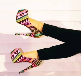 shoes heels high heels inca print colorful