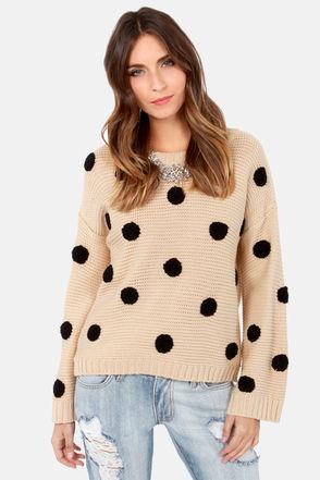 Cute Polka Dot Sweater - Beige Sweater - Knit Sweater - $46.00