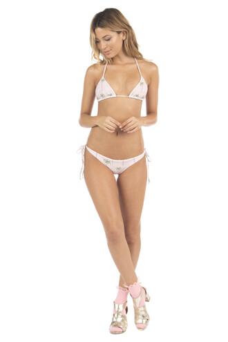 top bikini top halter top lolli swim pink print triangle swimwear bikiniluxe