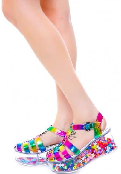 colorful rainbow hippie sandals 90s style weird beads metallic