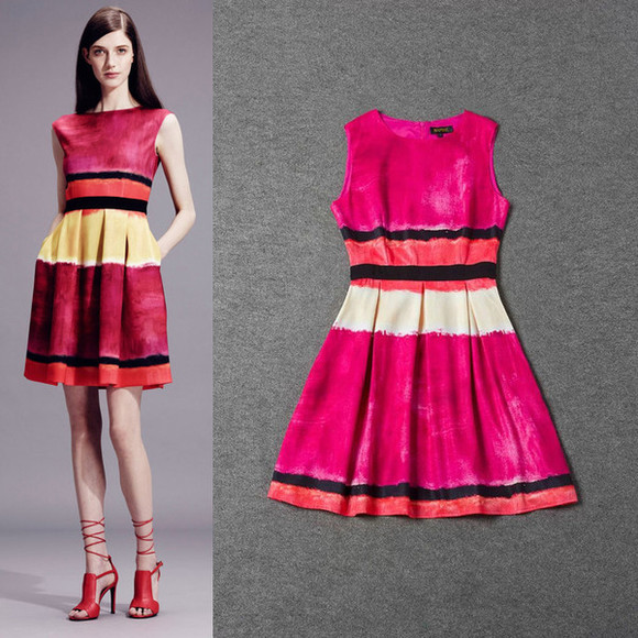 red dress stripe dress color dress fashion dress women dress