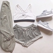 shorts,shoes,nike running shoes,nike shoes,sweater,bra,sports bra,top,tank top,black and white,pants,nike,joggers pants,grey,hat,cardigan,grey sweatpants,tracksuit trousers,shoes white grey nike,underwear,nike sports bra,grey shorts,kimono,grey shorts?,athletic,white,short shorts,cuffed shorts,sports shorts,sweatshort,sportswear,sporty,casual,gray sport bra set,running shoes,workout,workout shorts,lazy day,cute,rolled shorts,jacket,outfit,sweatpants,beige cardigan with loose rolll up sleeves