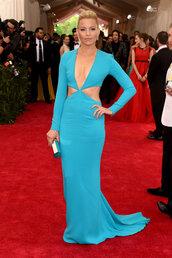 dress,gown,blue,maxi dress,elizabeth banks,met gala,cut-out,plunge v neck,prom dress,red carpet,metgala2015