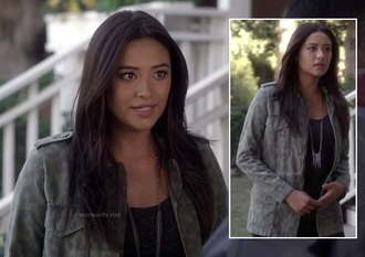 jacket shay mitchell pretty little liars emily fields army green jacket leopard print