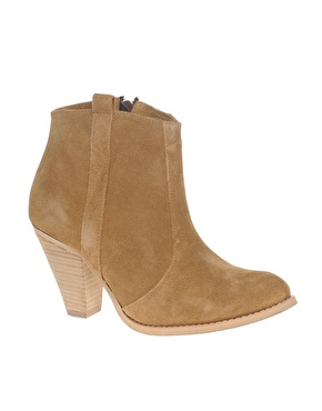ASOS AGGIE Suede Pull On Casual Heel Ankle Boots at ASOS