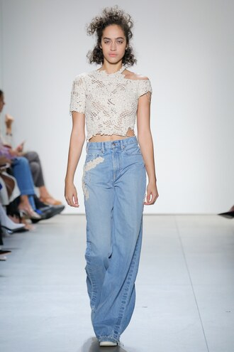 top crop tops jeans denim wide-leg pants runway jonathan simkhai nyfw 2017 ny fashion week 2017