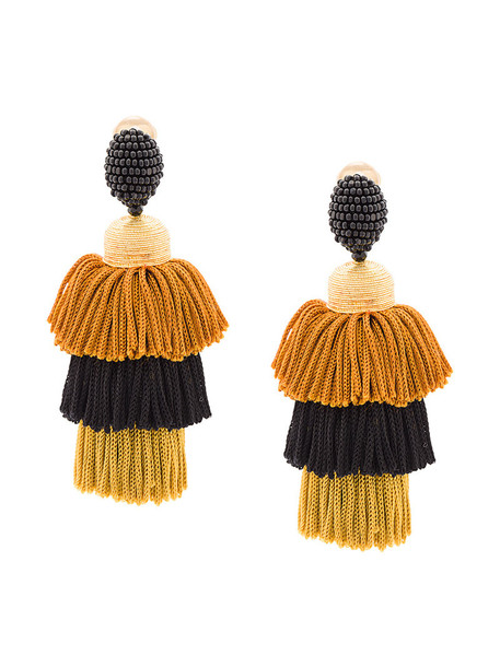 oscar de la renta tassel women earrings black silk jewels