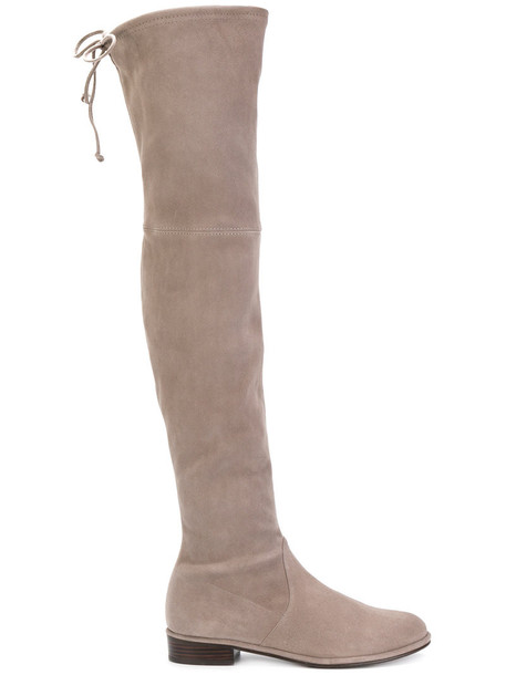 STUART WEITZMAN high women knee high knee high boots leather suede satin grey shoes