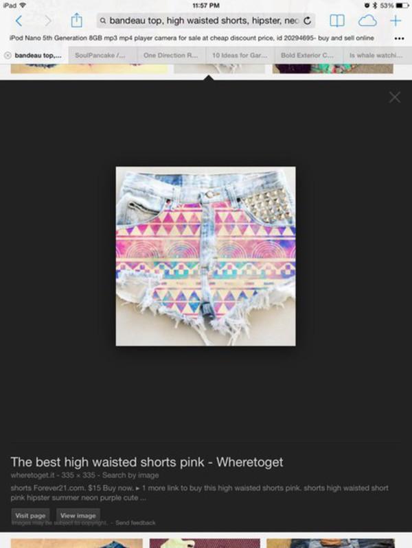 aztec multicolor shorts denim shorts cut off shorts