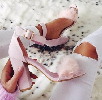 shoes pink high heels fur faux fur chunky heels shoes black grunge flat heels block heels fluffy heels