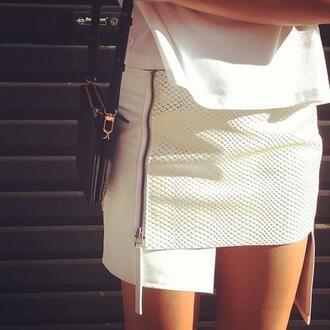 skirt white skirt leather skirt snake skin snake print snake zip zipper skirt fashion skirt asymmetrical skirt white texture dress uneven skirt