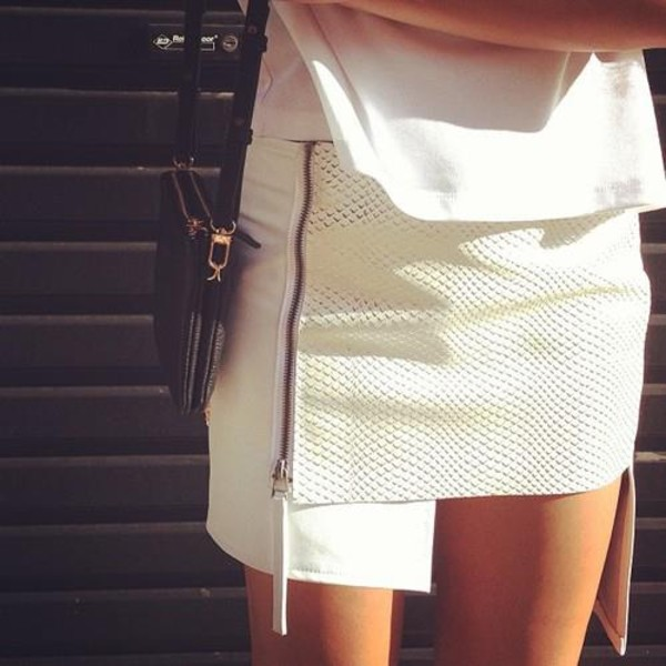 skirt white skirt leather skirt snake skin snake print snake zip asymmetrical skirt white texture uneven skirt