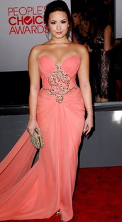 dress,demi lovato,pink,prom,long prom dress,blush,silver jewelry,strapless