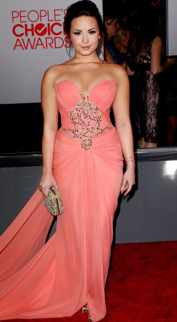 dress demi lovato pink prom long prom dress blush silver jewelry strapless