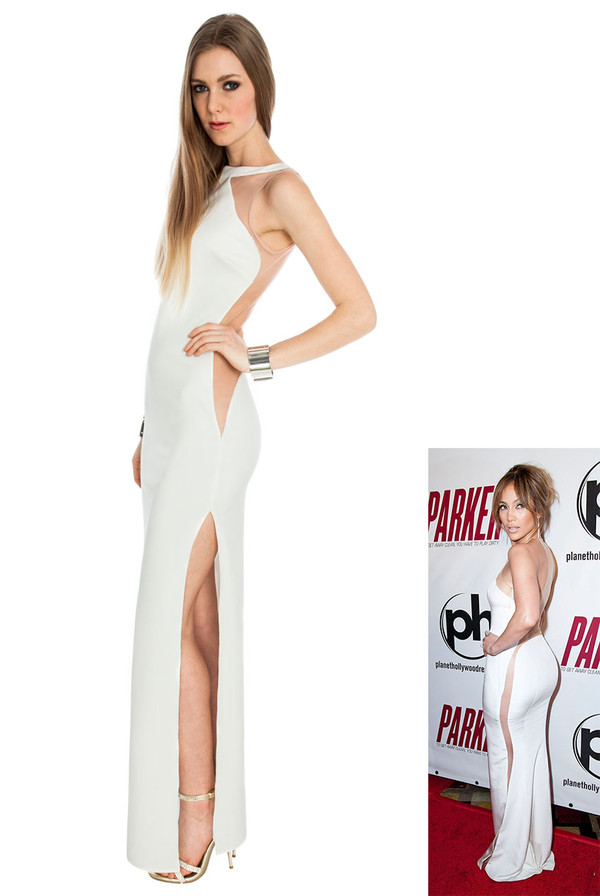 dress jennifer lopez maxi sassy high split backless daring cream black red carpet peach dress