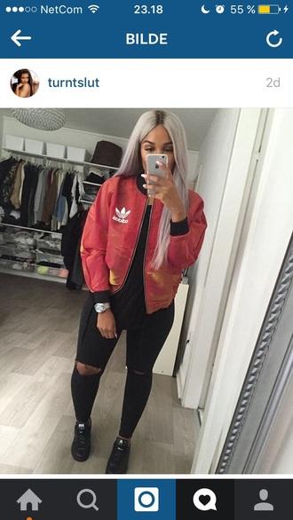 jacket red bomber jacket adidas