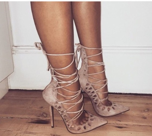 Taupe Strappy Heels Fs Heel