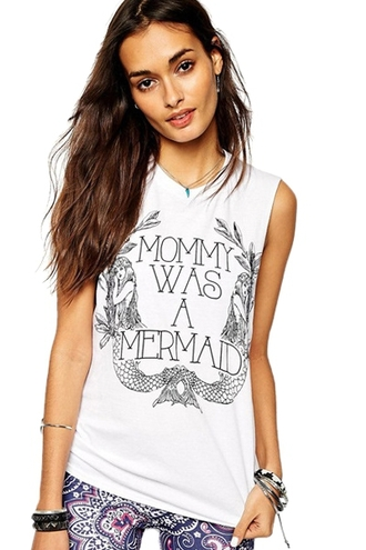 tank top top white white tank top letter print letter print top round neck mermaid funny quote shirt quote on it mommy mom mommy was a mermaid mother vasual casual hipster zaful summer summer top summer tank top summer outfits summer collection streetstyle jeans