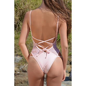 swimwear lace up pink open back fashion style summer beach sexy trendy free vibrationz