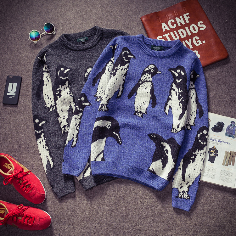 Men's 2015 cute cartoon penguin embroidery sweater from uzip on storenvy
