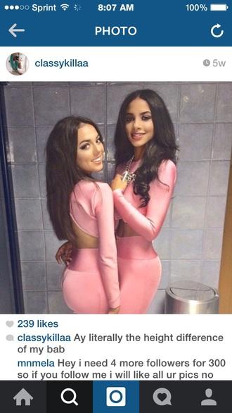 dress pink bodycon dress 2 piece skirt set two piece dress set skirt crop tops