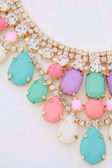 jewels necklace sparkle Juwels pastel pink light blue multi coulor pastel necklace
