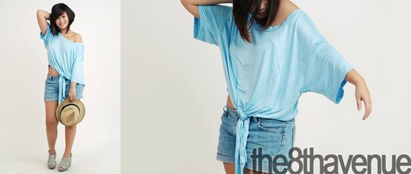 tie up blue hipster crop top t-shirt tie hippie cropped